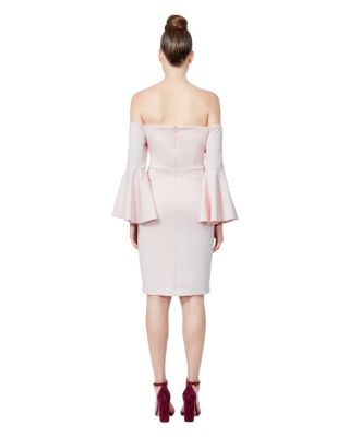 Image of OFF THE CHARTS BELL SLEEVE DRESS BLUSH