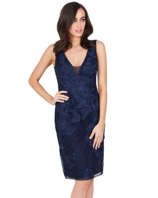 ON THE TOWN LACE OVERLAY DRESS NAVY
