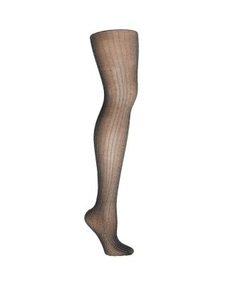 ON THE TOWN LUREX STRIPED TIGHTS BLACK