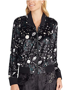 OUT OF THIS WORLD VELVET BOMBER JACKET