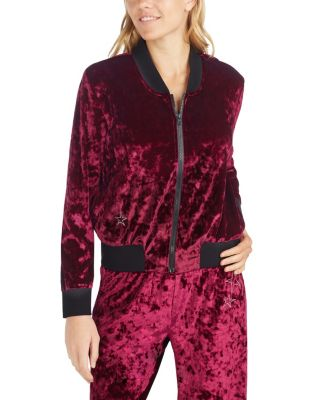 OUT OF THIS WORLD VELVET BOMBER JACKET BURGUNDY