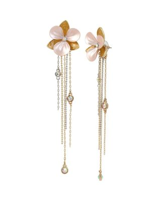 Image of PARADISE LOST FLOWER LINEAR EARRINGS PINK