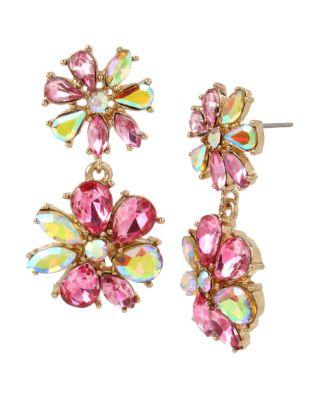 Image of PARADISE LOST PINK FLOWER DROP EARRINGS PINK