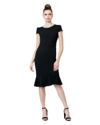 PEARL COLLAR SCUBA CREPE DRESS WITH FLOUNCE BLACK