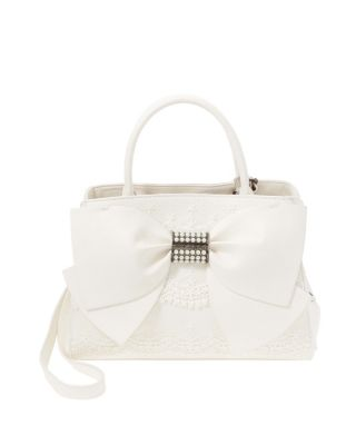 PEARL OF A GIRL LACE AND BOW SATCHEL CREAM