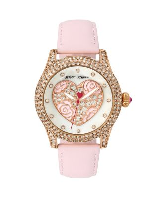 PEARLIZED HEART WATCH PINK
