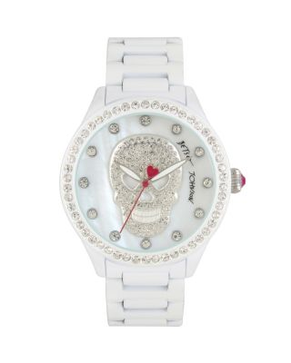 PEARLIZED SKULL WATCH WHITE