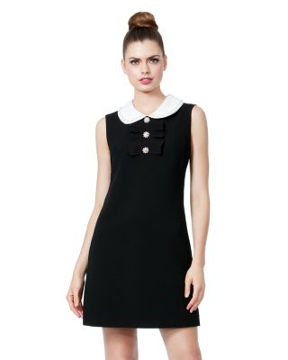 Image of PETER PAN COLLAR SCUBA CREPE DRESS BLACK
