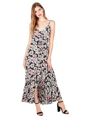 PRETTY PETALS HIGH LOW MAXI DRESS BLACK MULTI
