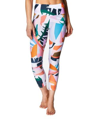PRINTED MESH TRIM LEGGING WHITE MULTI