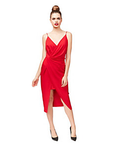 RACING RED FAUX WRAP DRESS