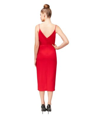 RACING RED FAUX WRAP DRESS RED