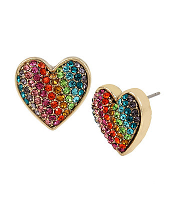 RAINBOW CONNECTION HEART STUD EARRINGS