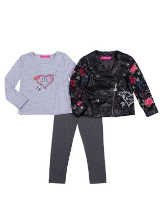 ROCKER GIRL 4-6X THREE PC JACKET SET BLACK