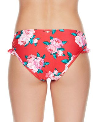 ROSE FANTASY RUFFLE HIPSTER BOTTOM RED MULTI