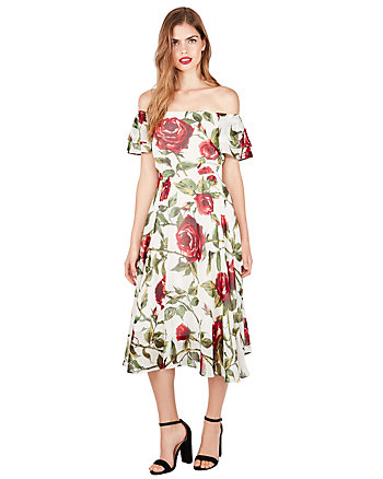 ROSEY DAY OFF OR ON SHOULDER DRESS