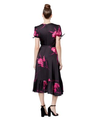 RUFFLE HEM FLORAL FAUX WRAP DRESS BLACK/PINK