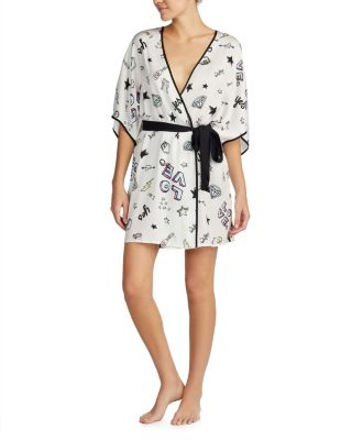 SAY YES BRIDAL SATIN ROBE BLACK
