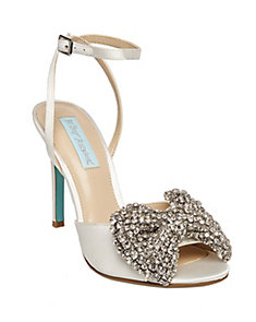 Blue by Betsey Johnson Isa Pearl Embellished Satin Slingback Pumps