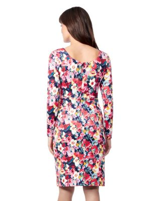 SCUBA CREPE LONG SLEEVE DRESS NAVY MULTI