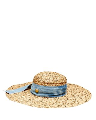 SEQUIN FLOPPY HAT WITH DENIM BAND NATURAL