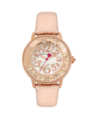 Betsey Johnson SHAKY BLUSH CRYSTAL WATCH