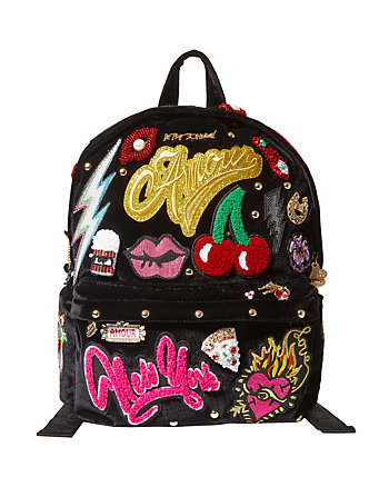SHOW STOPPER PATCHED VELVET BACKPACK