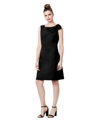 SIDE BOW SCUBA CREPE DRESS BLACK