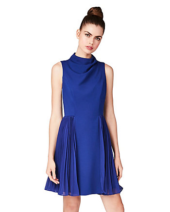 SIDE FLIRT SCUBA AND CHIFFON DRESS
