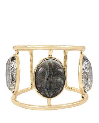 SKELETONS AFTER DARK CAMEO HINGE CUFF BLACK