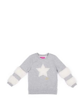 STARS AND STRIPES 4-6X FLEECE TOP GREY
