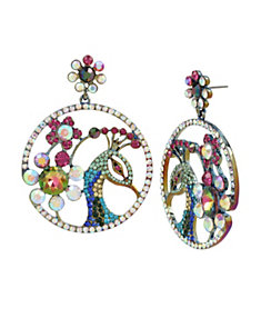 STATEMENT CRITTERS PEACOCK CIRCLE EARRINGS