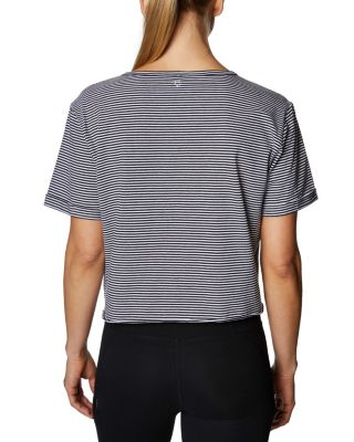 STRIPED CHAMPAGNE CROPPED TEE BLACK/WHITE