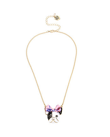 SUMMER FLOWERS BOW PUPPY PENDANT