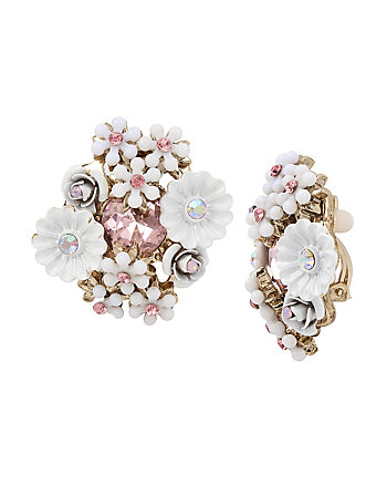 SUMMER FLOWERS CLUSTER CLIP EARRINGS