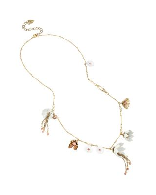 SUMMER FLOWERS LONG NECKLACE WHITE/PINK