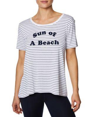 Image of SUN OF A BEACH SWING TEE WHITE/NAVY