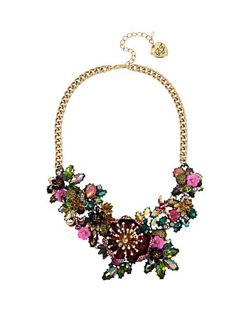 SURREAL FOREST FLORAL STATEMENT NECKLACE