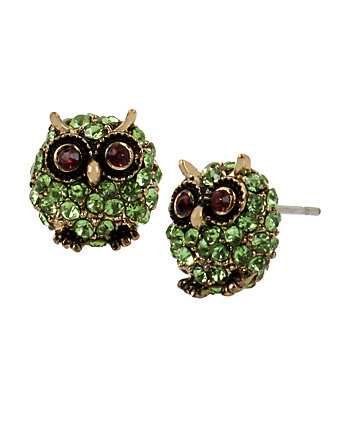 SURREAL FOREST GREEN OWL STUD EARRINGS