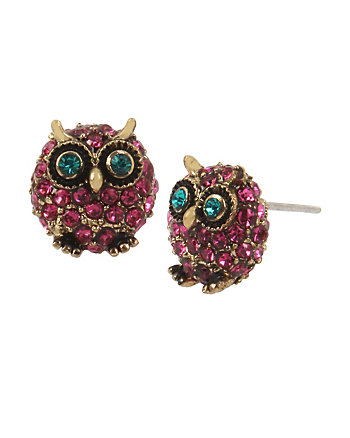 SURREAL FOREST PURPLE OWL STUD EARRINGS
