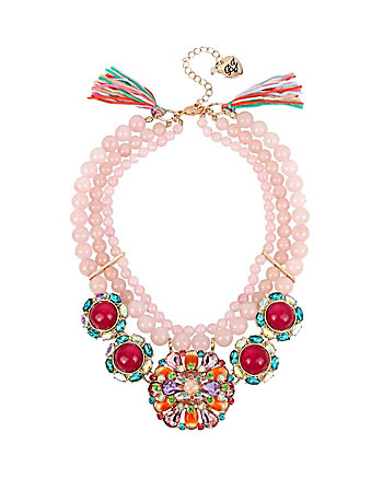 SWEET SHOP PINK BEAD STATEMENT NECKLACE