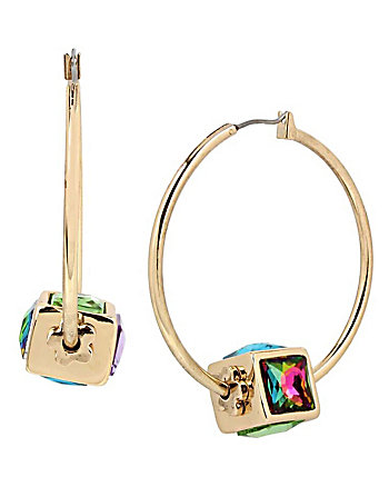 SWEET SHOP SPINNING CUBE HOOP EARRINGS