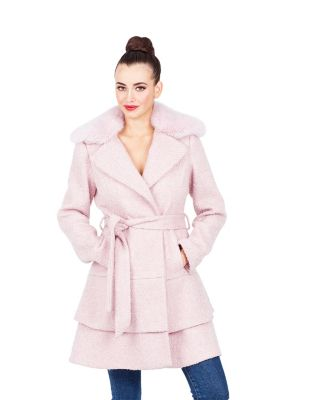 SWEETHEART WOOL COAT WITH FAUX FUR COLLAR LT PINK