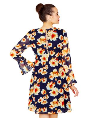 TIE BACK SHEER SLEEVE FLORAL DRESS NAVY MULTI