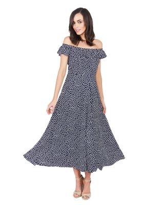 TINY DOTS RUFFLE NECK DRESS NAVY