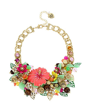 TROPICAL PUNCH FLOWER STATEMENT NECKLACE