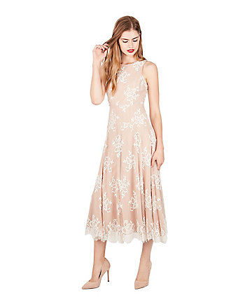 WHISPERING LACE TEA LENGTH DRESS