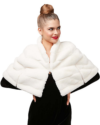 WHITE OUT FAUX FUR CAPELET