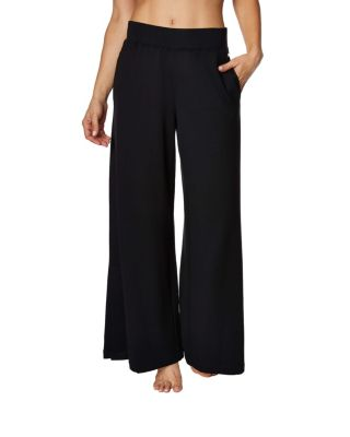 WIDE LEG PANT WITH SIDE SLITS BLACK
