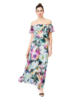 WISPY FLORAL STRAPLESS RUFFLE MAXI DRESS MULTI